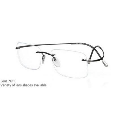 Silhouette Rimless 7799 Titan Minimal Art The Must Collection Eyeglasses Shiny Jet Back (6074)