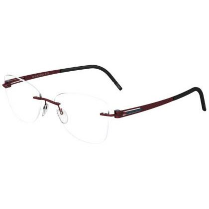 Silhouette Rimless 5369 Lite Twist Eyeglasses Red Merlot Blue (6062)