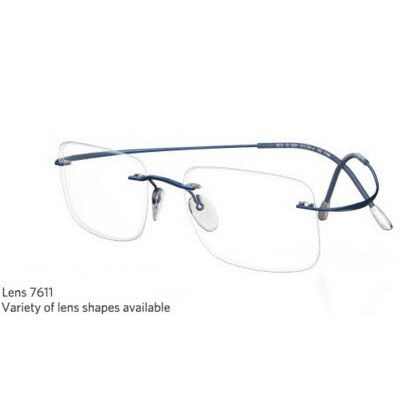 Silhouette Rimless 7799 Titan Minimal Art The Must Collection Eyeglasses Shiny Indigo Blue (6054)