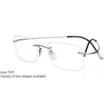 Silhouette Rimless 7799 Titan Minimal Art The Must Collection Eyeglasses Shiny Sterling Silver (6050)